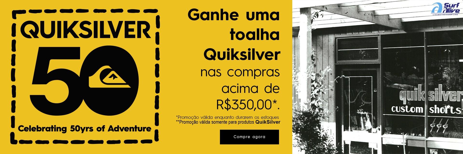 Compre 350,00 reais ou mais em produtos QuikSilver e ganhe uma toalha exclusiva.