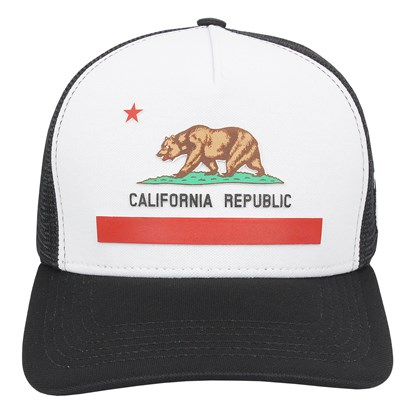 Boné Trucker Surf Alive California Republic Preto e Branco