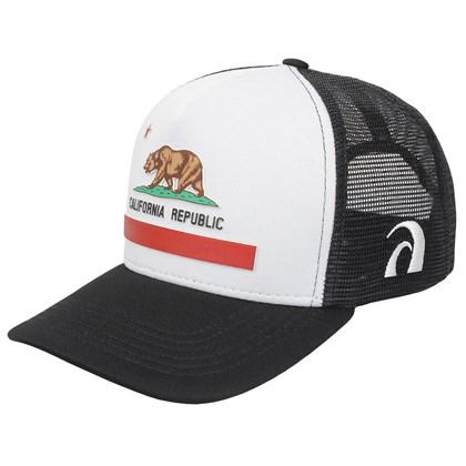 Boné Trucker Surf Alive California Republic Preto e Branco