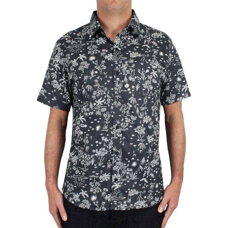 Camisa Quiksilver Garden Manga Curta Preta