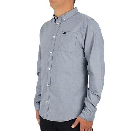 Camisa RVCA Manga Longa Oxford Distant Blue