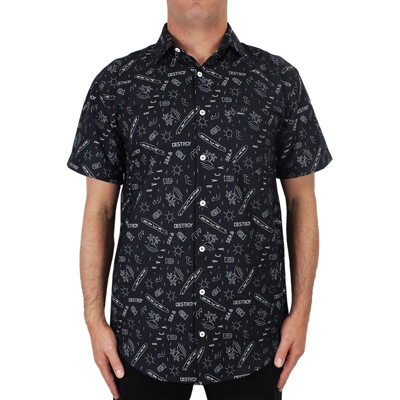 Camisa RVCA Sea & Destroy Manga Curta Preta