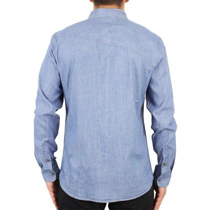 Camisa Volcom Hudson Manga Longa Jeans Stone
