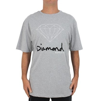 Camiseta Extra Grande Diamond OG Sign Heather Grey