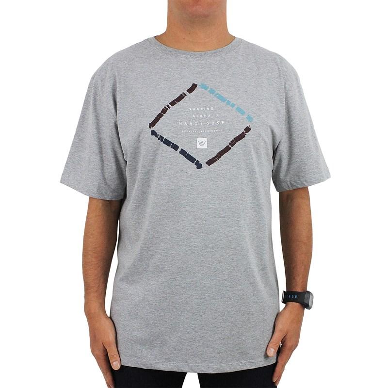 Camiseta Extra Grande Hang Loose Let Go Cinza Mescla