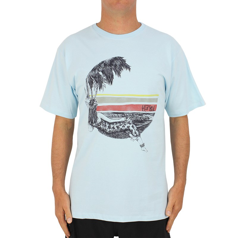 Camiseta Extra Grande Hurley Lost In Bali Azul