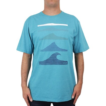 Camiseta Extra Grande Hurley Wait For It Azul Mescla