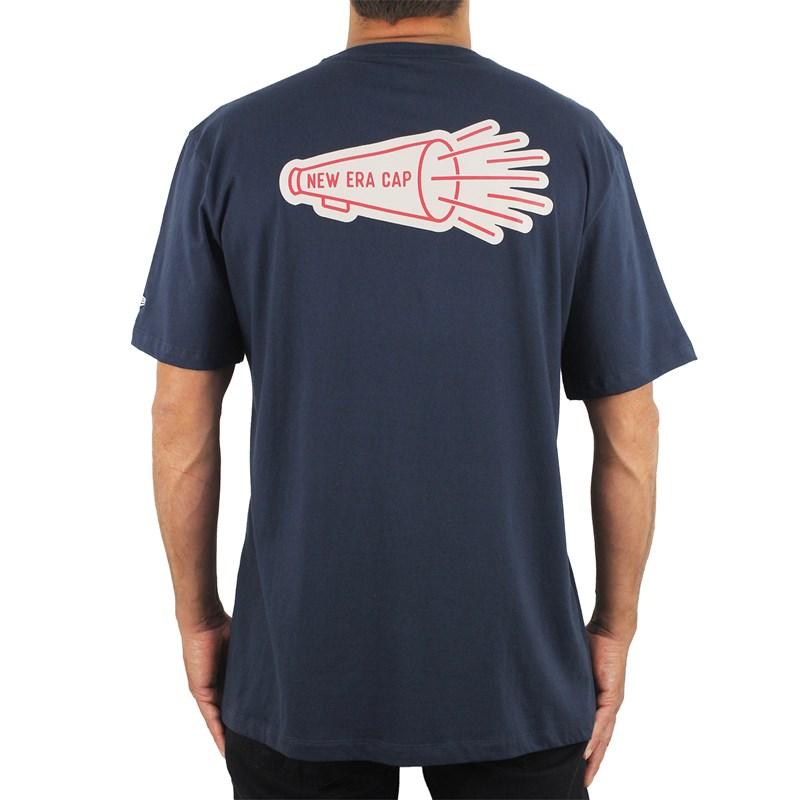 Camiseta Extra Grande New Era Heritage Megaphone Branded Navy