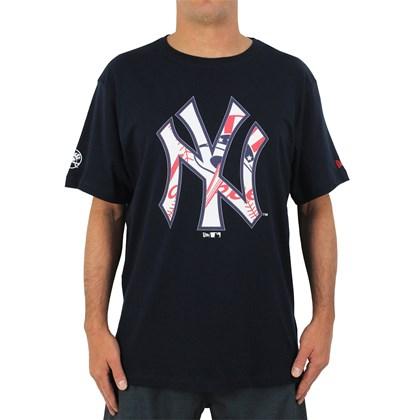 Camiseta Extra Grande New Era MLB New York Yankees Badges Navy