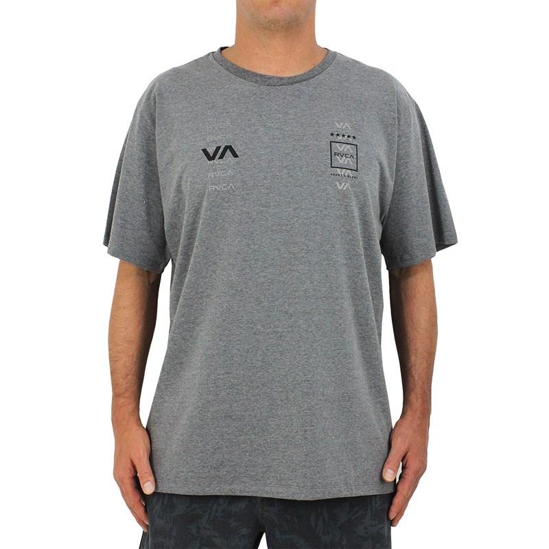Camiseta Extra Grande RVCA Double Dawn Cinza Mescla
