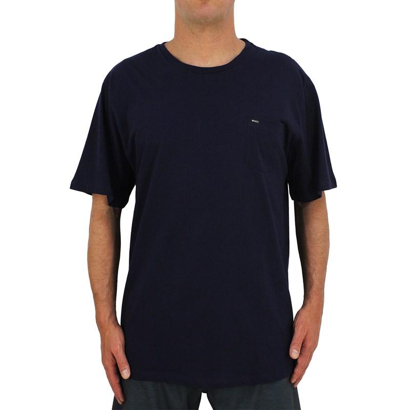 Camiseta Extra Grande RVCA Solo Label Marinho
