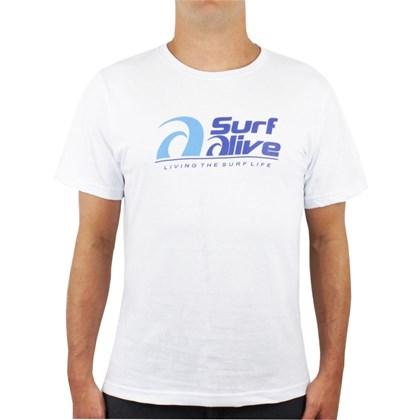 Camiseta Extra Grande Surf Alive Logo Branca