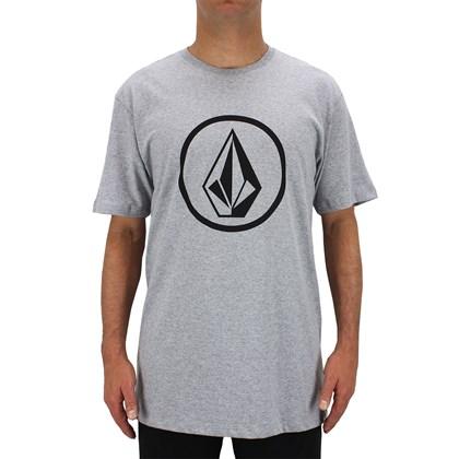 Camiseta Extra Grande Volcom Circle Stone Cinza Mescla