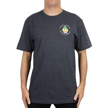 Camiseta Extra Grande Volcom Stone Grown Preto Mescla