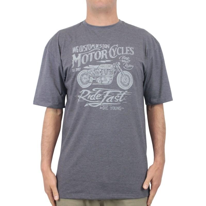 Camiseta Extra Grande Wave Giant Die Young Cinza Mescla