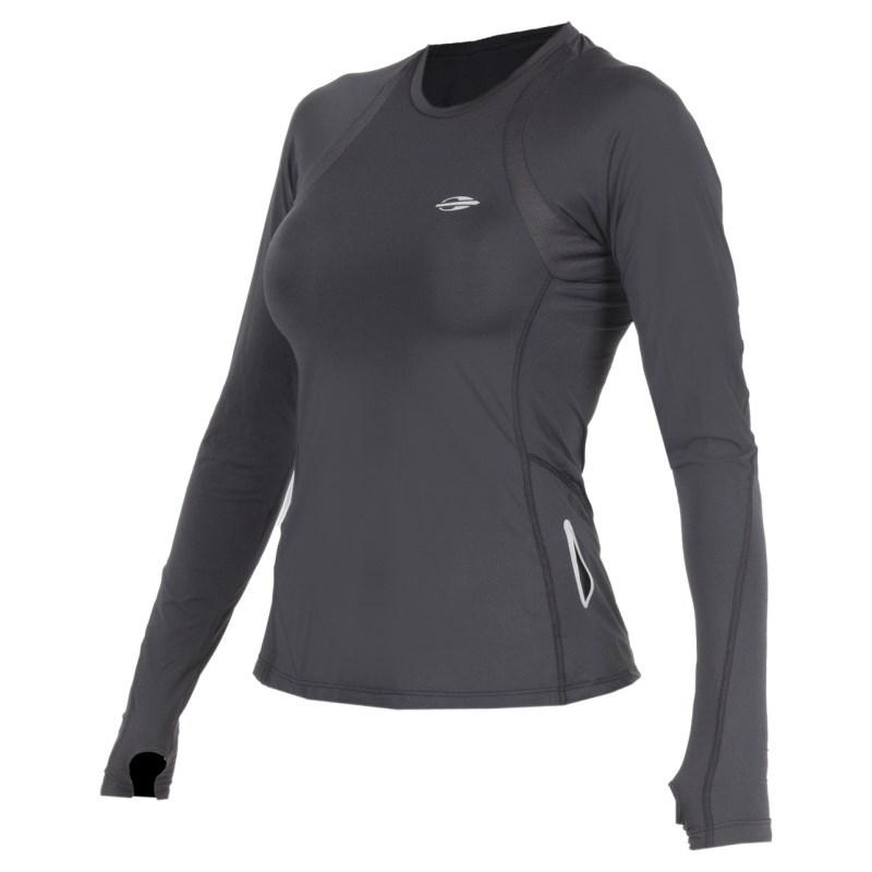 Camiseta Feminina Mormaii com Proteção UV Maga Longa Preta