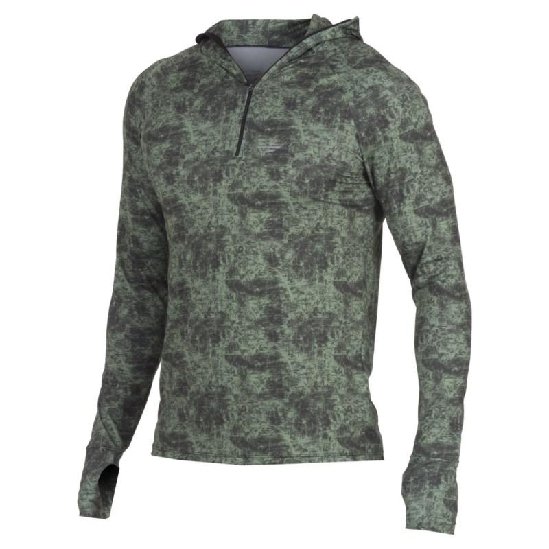 Camiseta Mormaii com Proteção UV Manga Longa com Capuz Verde Selva
