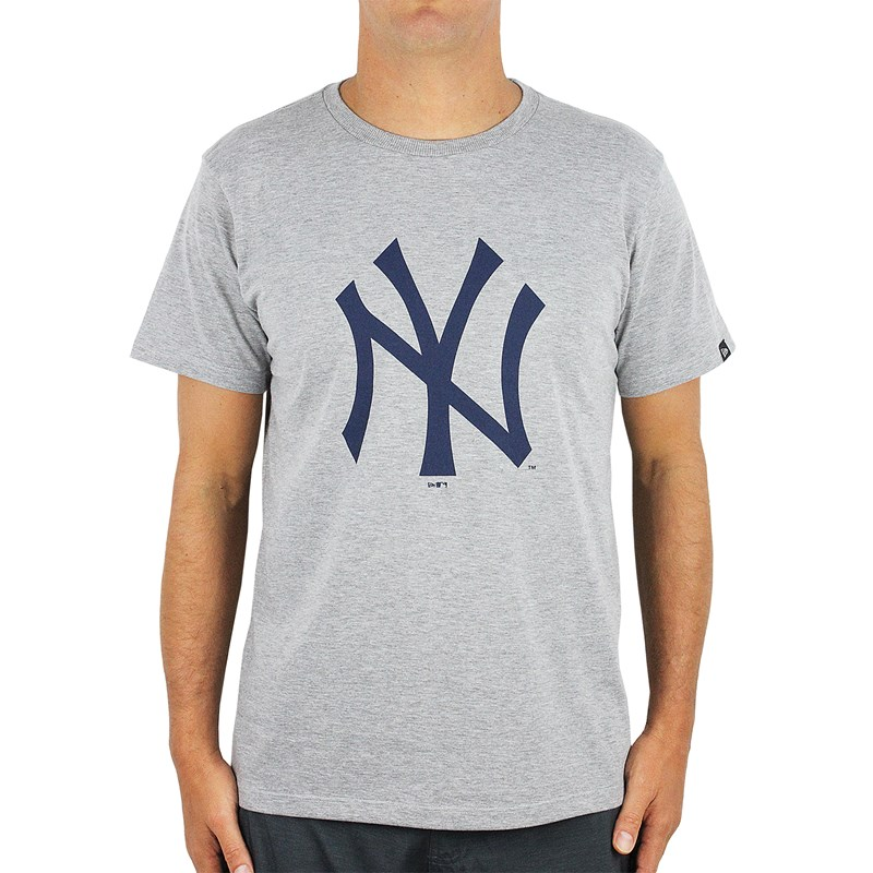 Camiseta New Era MLB New York Yankees Cinza Mescla