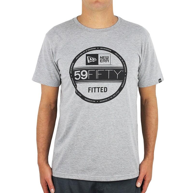 Camiseta New Era Sticker 59Fifty Cinza Mescla