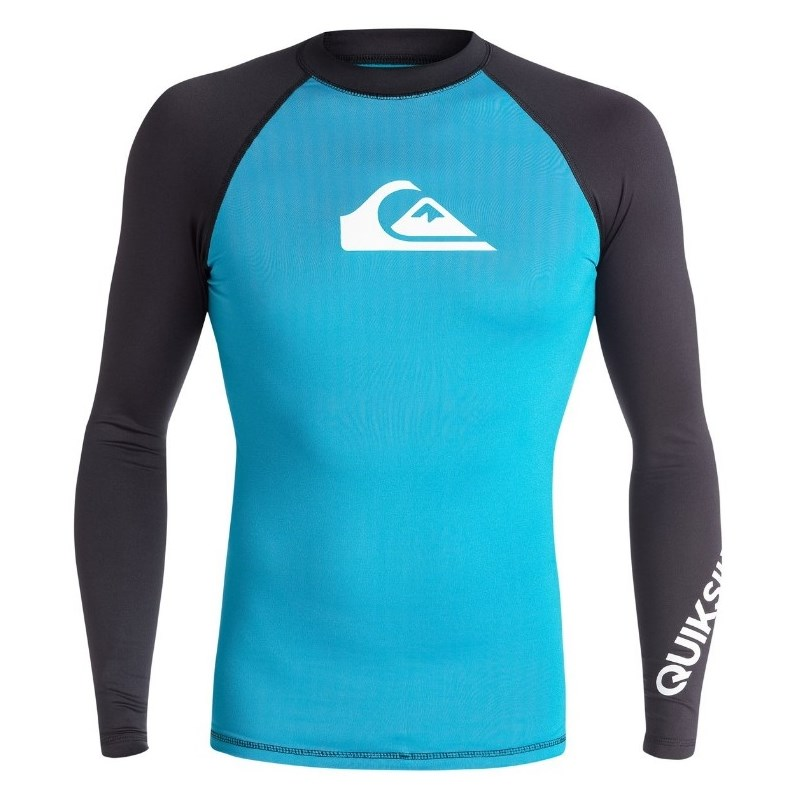 6141bb736d9ba CAMISETA PARA SURF QUIKSILVER ALL TIMES PRETA E AZUL IMPORTADA ...