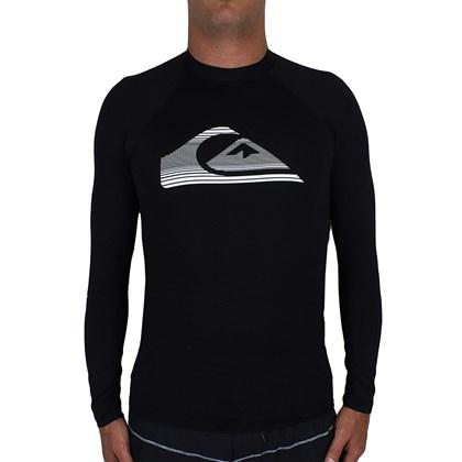 Camiseta para Surf Quiksilver Stripe Logo Manga Longa Black