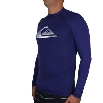 Camiseta para Surf Quiksilver Stripe Logo Manga Longa Navy