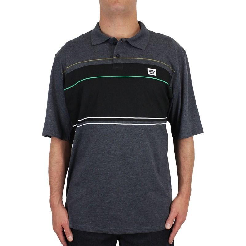 Camiseta Polo Extra Grande Hang Loose Line Up Mescla Grafite