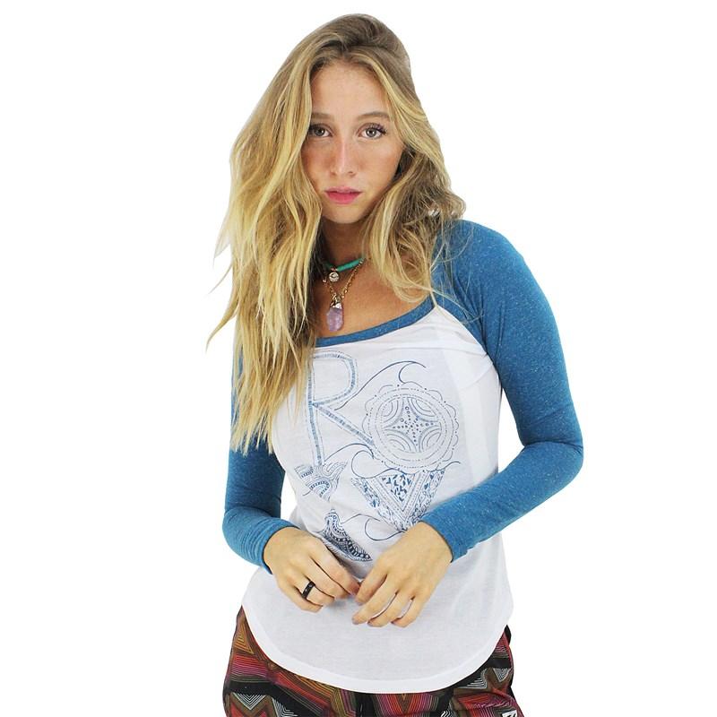 Camiseta Roxy Surf Manga Longa Raglan Olivine