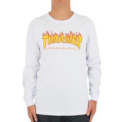 Camiseta Thrasher Flame Logo Manga Longa Branca