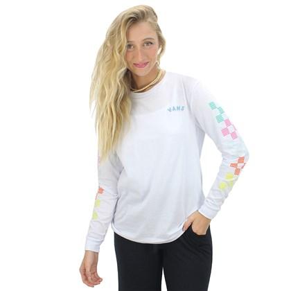 Camiseta Vans Dotty Check Manga Longa White