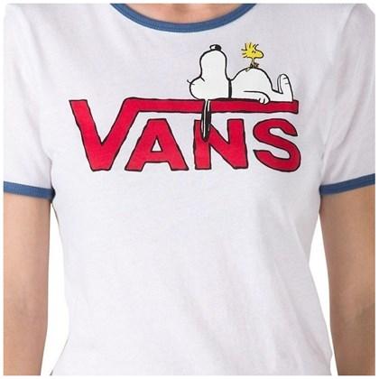 Camiseta Vans X Peanuts Feminina Snoopy Ringer White True Navy