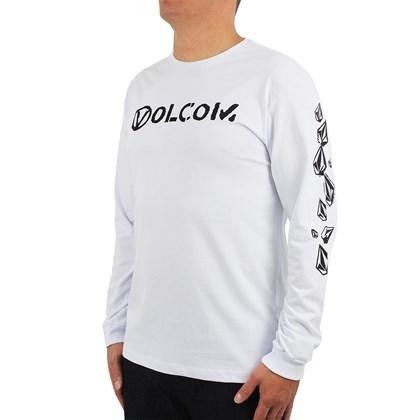 Camiseta Volcom Manga Longa Stone Spew Branca