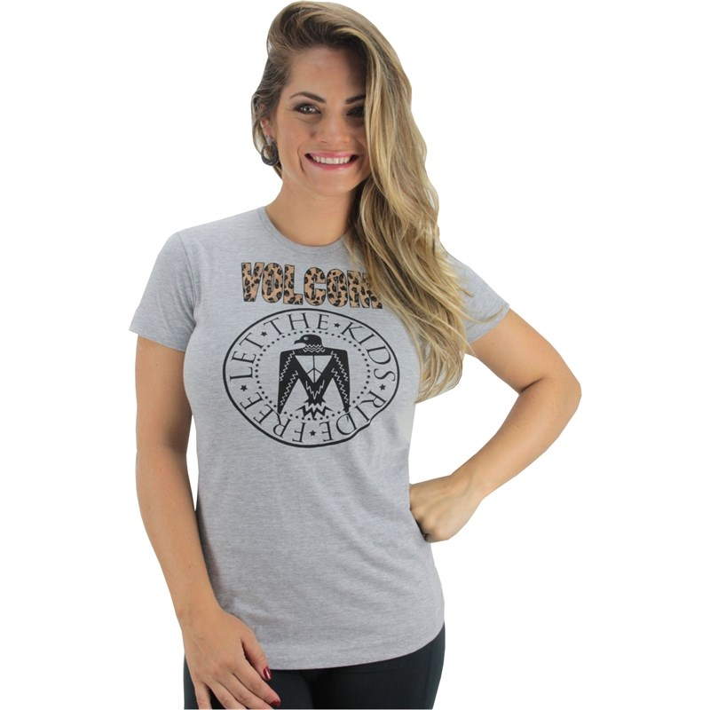 CAMISETA VOLCOM THE KIDS LEO CINZA MESCLA