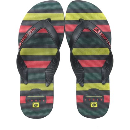 Chinelo Hang Loose Plus Preto Rasta