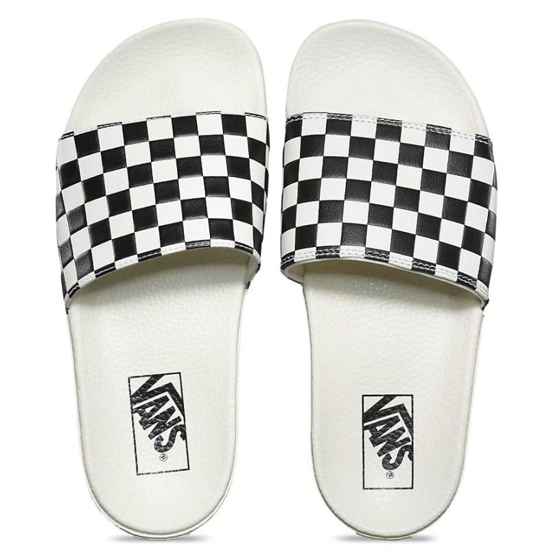 Chinelo Vans Slide On Checkerboard White Black