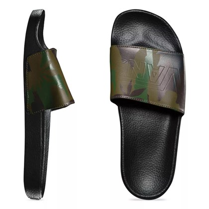 Chinelo Vans Slide On Peace Leaf Camo Black