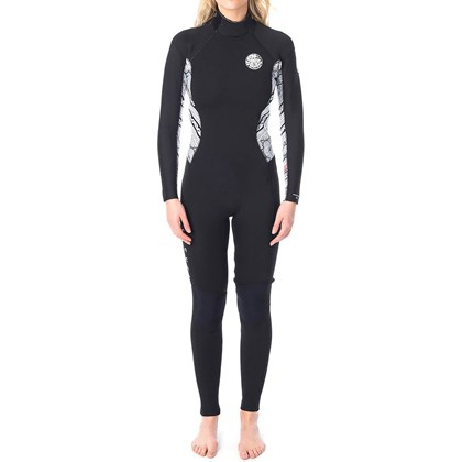 Long John Rip Curl Dawn Patrol 3/2 Back Zip White Black Feminino