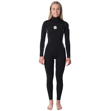 Long John Rip Curl Dawn Patrol 3/2 Chest Zip Black Grey Feminino