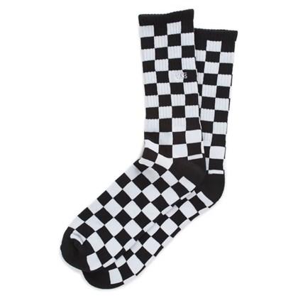 Meia Vans Checkerboard Crew Black White