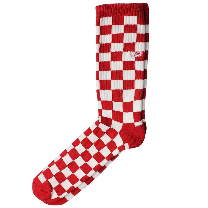 Meia Vans Checkerboard Crew II Red White