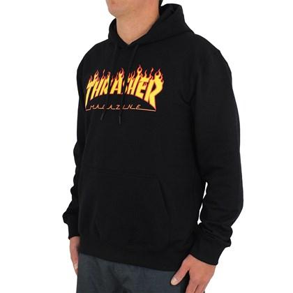 Moletom Thrasher Flame Logo Canguru Preto