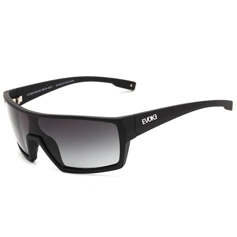 Óculos De Sol Evoke Bionic Beta Black Shine Silver Gray Degradê