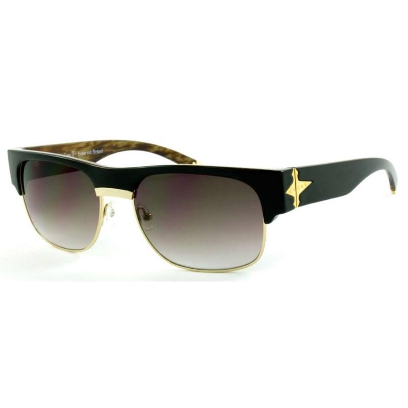 Óculos de Sol Evoke Capo 2 Black Wood Gold Brown Gradient