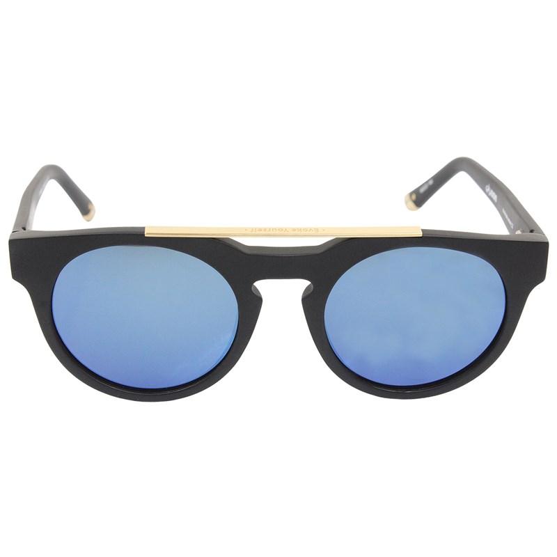Óculos de Sol Evoke Upper III A01B Black Matte Gold Blue Flash Mirror