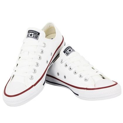 Tênis Converse Chuck Taylor All Star Branco Vermelho Marinho Couro