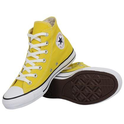 Tênis Converse Chuck Taylor All Star Hi Amarelo Vivo Preto Branco