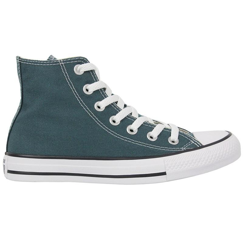 Tênis Converse Chuck Taylor All Star Hi Verde Escuro Preto Branco
