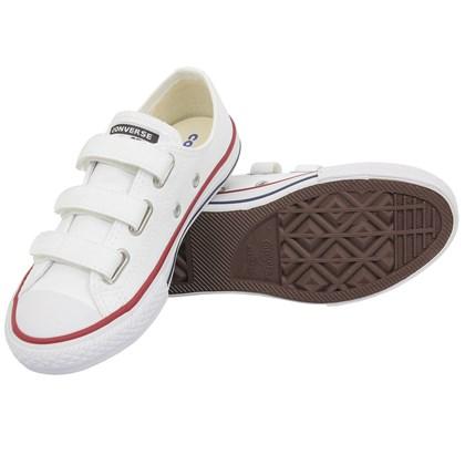 Tênis Converse Chuck Taylor All Star Kids 3V Branco Vermelho Marinho