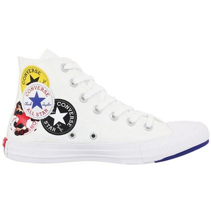 Tênis Converse Chuck Taylor All Star Logo Play Hi Branco Azul Branco