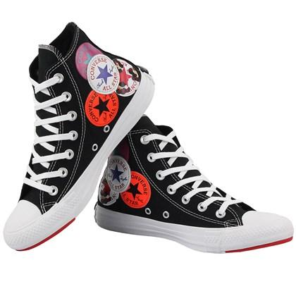 Tênis Converse Chuck Taylor All Star Logo Play Hi Preto Branco Vermelho